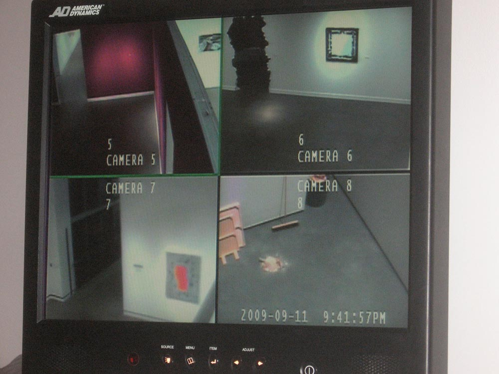Gallery (security monitor view), Other Positioning Systems, Rochester Art Center, Rochester, MN, David Lefkowitz, 2009
