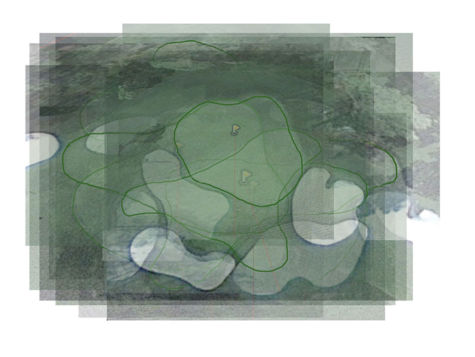 18 Holes in One-preliminary sketch-layered composite- every green at Augusta<br /> (with Stephen Mohring)<br /> , David Lefkowitz, 2013