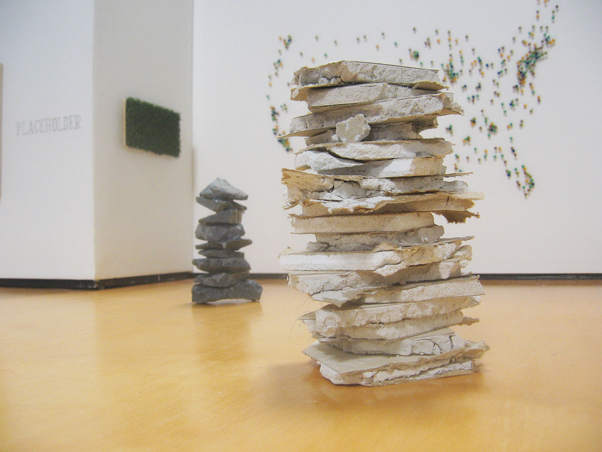 Placeholder at Peripatetic Gallery (Cairn # 1 in foreground), David Lefkowitz, 2013